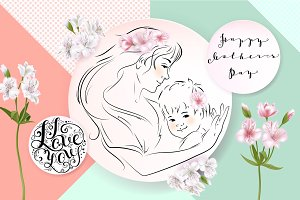 Mothers day greeting card. Flowers and mother with a baby in her arms. Vector illustration