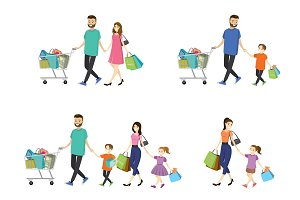Set - cartoon,happy shopping family