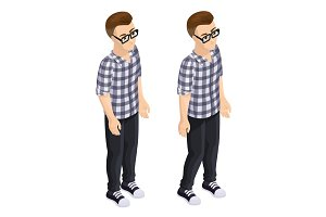 Isometric boy in the checkered shirt isolated on white