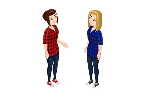 Isometric girl in the checkered shirt isolated on white