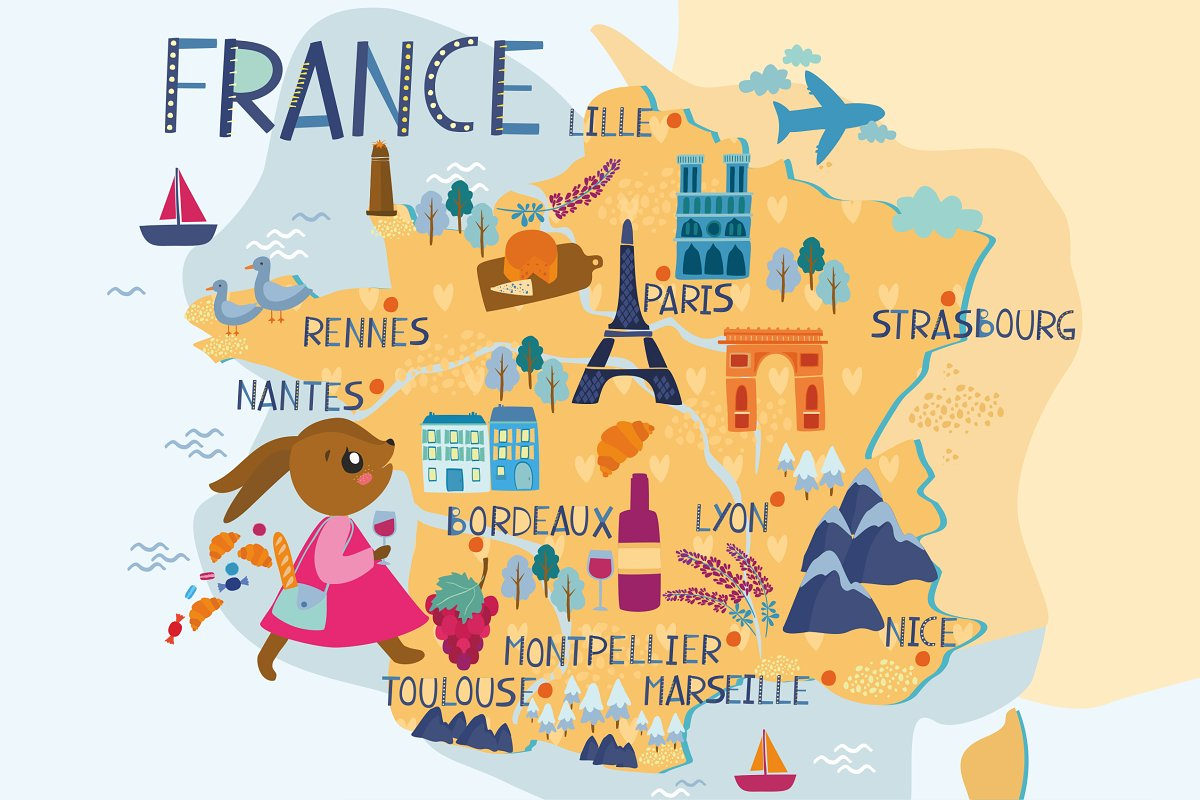 Map Of France Poster.Map Of France
