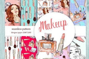makeup,seamless patterns