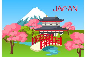 Japan Touristic Concept with National Symbols