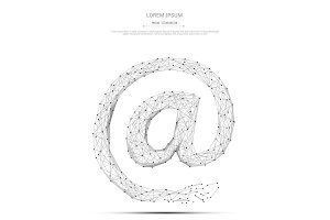 e-mail symbol low poly gray on white