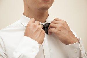Groom preparing for the wedding