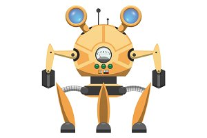 Yellow Metallic Robot with Three Legs Drawn Icon