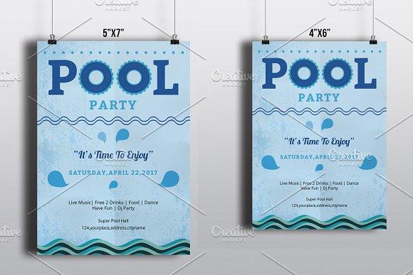 pool party flyer template v553 flyer templates creative market