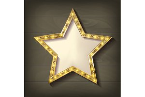 2 Gold star on wooden background