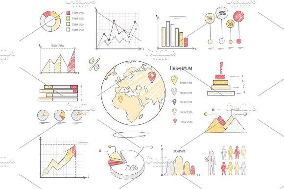 Earth Population Statistics Charts Illustration