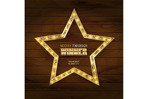 3 Gold star on wooden background.