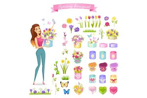 Beautiful Woman Holds Spring Bouquet in Round Box