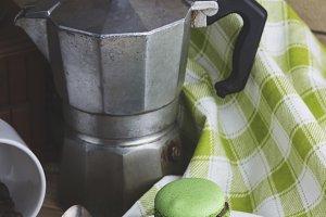 Old coffee pot, green macaroons