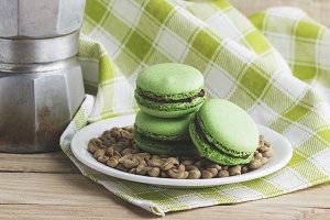 Old coffee pot, green macaroons
