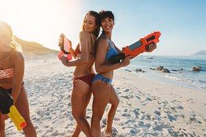 Playful young women having fun