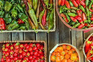 Hot peppers displayed in baskets