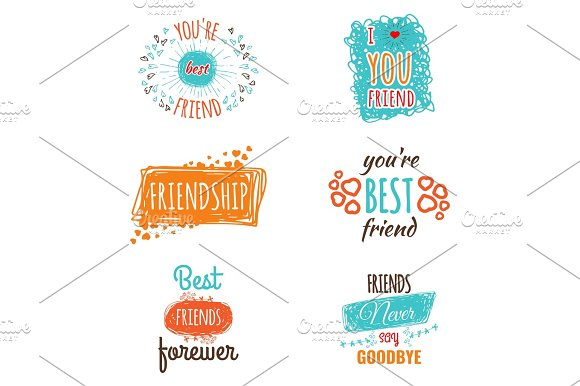 Friendship Logos Set With Text Vector Labels Isolated On White
