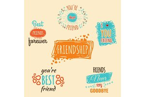 Best friend logos set with text vector labels isolated