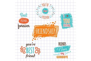 Best friend logos set vector labels isolated on copybook page