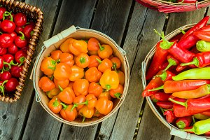 Orange hot peppers in baskets