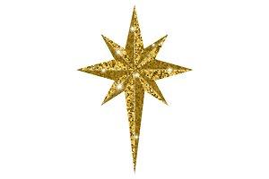 Bethlehem Christmas golden star isolated on white background