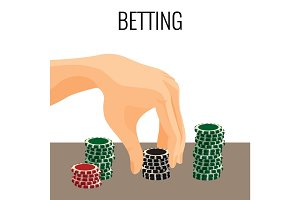 Betting concept. Hand moving poker chips isolated on white