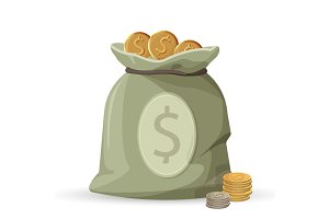 Bag of money with golden and silver coins isolated