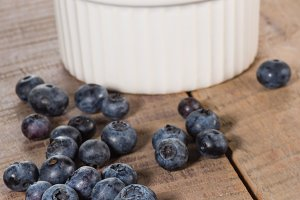 Blueberries with white bowl