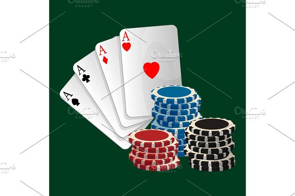 Ace Playing Cards With Symbols And Gambling Chips Isolated