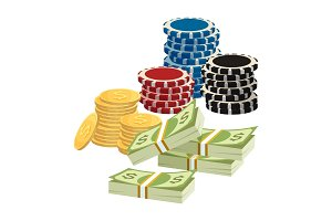 Betting gambling concept. Poker chips, golden coins with dollar sign