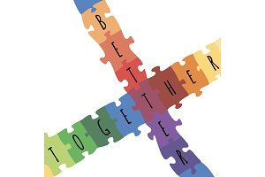 Better together logotype design made of puzzle vector colorful illustration
