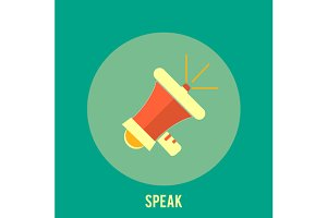 Icon of megaphone. Speak concept