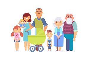 Happy Family Characters Vector Set
