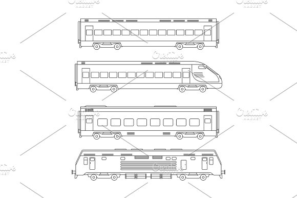 Trains Line Drawing