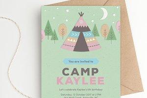 Teepee Tent Birthday Party Invite