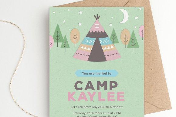 Teepee Tent Birthday Party Invite Invitation Templates Creative