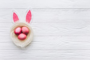 Easter eggs and bunny ears.
