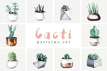 Cacti party pattern set