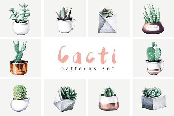Cacti party pattern set