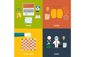 Set icons for education, headwork