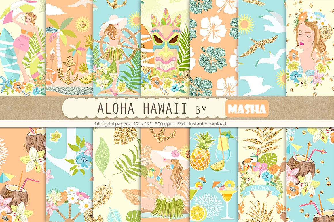 ALOHA HAWAII Digital Papers Graphic Patterns Creative Market