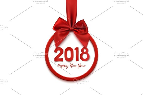 Happy New Year 2018 Round Banner With Red Ribbon And Bow