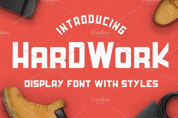 HardWork Display Font With Styles