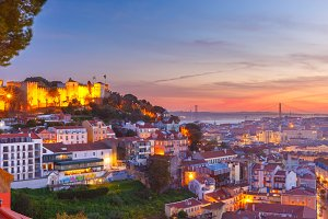 Historical centre of Lisbon at sunset, Portugal