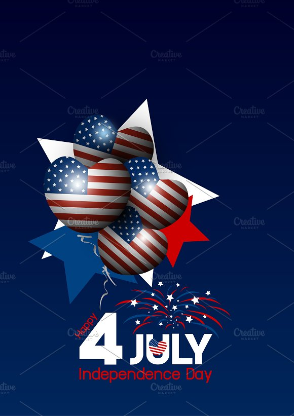 Vector USA 4 July Independence Day