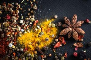 Different colorful seasonings