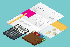 Isometric single Invoice, calculator and credit cards. Payment and billing invoices, business or financial operations sign. Vector concept for services rendered.