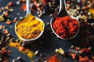 Different colorful spices close-up