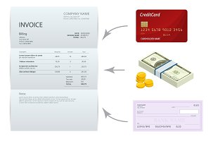 Isometric single Invoice, Bank check, cash and credit cards. Payment and billing invoices, business or financial operations sign. Vector concept for services rendered.