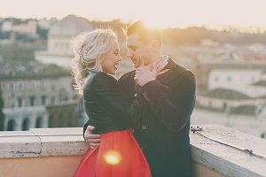 Happy young couple in Rome
