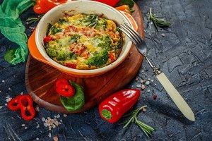Frittata with broccoli in ceramic form